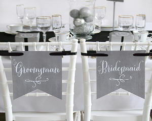 Bridesmaid & Groomsman Charming Vintage Chair Signs (Set of 2)