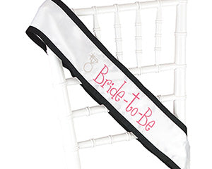 Black Grosgrain Bride to Be Sash