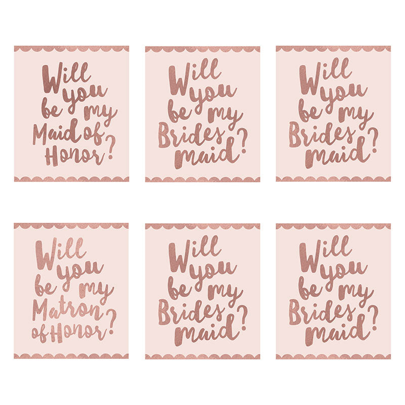 Pink Bridal Party Proposal Wine Bottle Label (Set of 6)