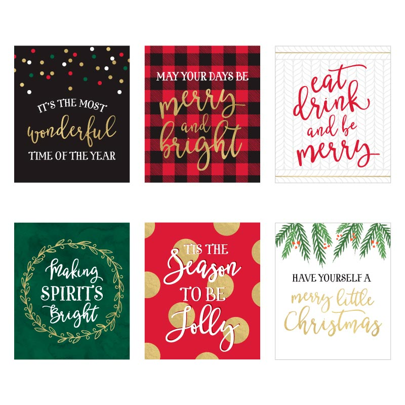 Classic Christmas Wine Bottle Label (Set of 6)