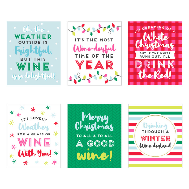 Boozy Christmas Wine Bottle Label (Set of 6)