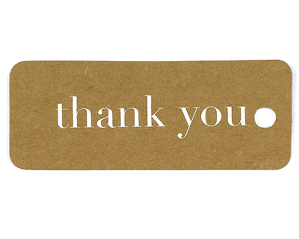 Kraft Thank You Tags - Gold or Silver | My Wedding Favors
