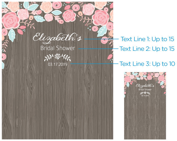 Personalized Rustic Bridal Woodgrain Photo Backdrop