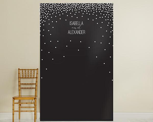 Personalized Black & White Dotted Photo Backdrop