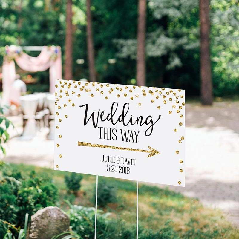 Personalized Gold Glitter Wedding Directional Sign (18x12)