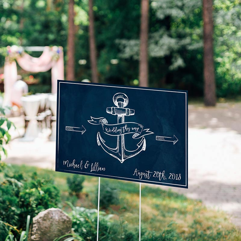 Personalized Nautical Wedding Directional Sign (18x12)