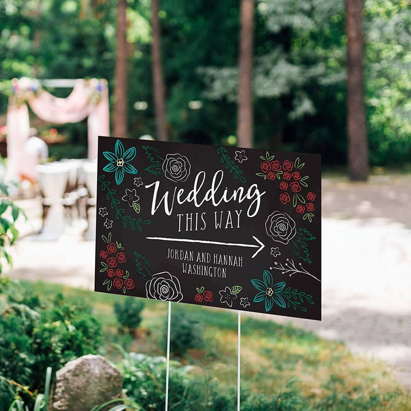 Personalized Chalk Wedding Directional Sign (18x12)