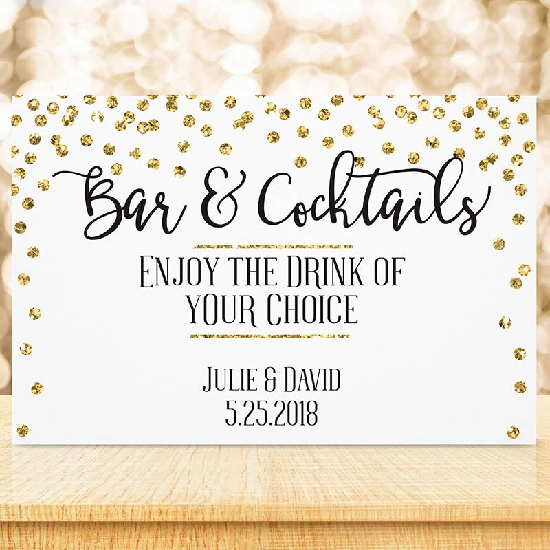 Personalized Gold Glitter Wedding Sign (18x12)