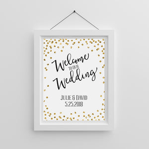 Personalized Gold Glitter Wedding Poster (18x24)