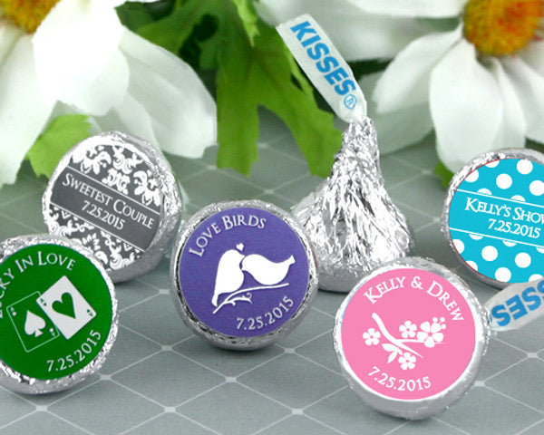 Personalized Colored Foil Hershey's Kisses - Silhouette Collection | My Wedding Favors