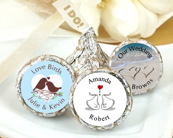 "Personalized ""I DO"" Plume Hershey's Kisses 