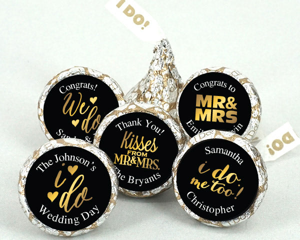 Personalized Shimmering Love I DO Plume Hershey's Kisses