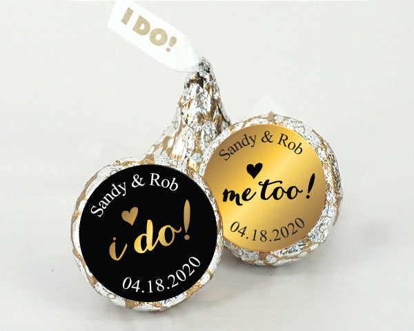 "Personalized Shimmering Love ""I DO"" Plume Hershey's Kisses Set (Set of 200) 
