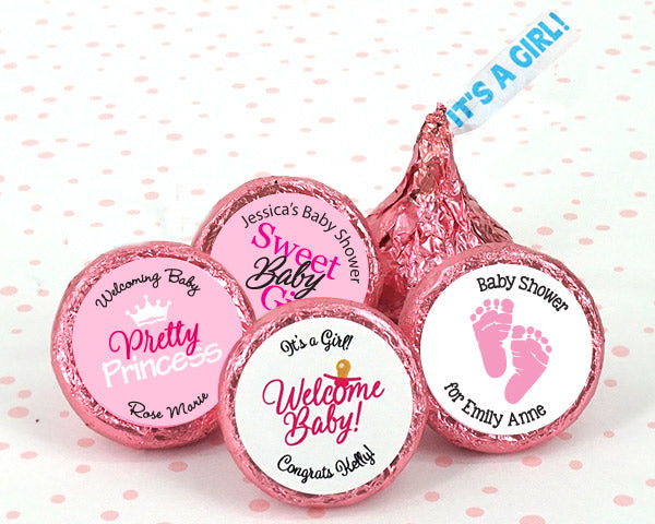 "Personalized ""It's A Girl"" Plume Hershey's Kisses 