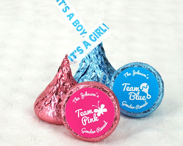 "Personalized Team Pink or Blue ""It's A Girl/Boy"" Plume Hershey's Kisses (Set of 200) 