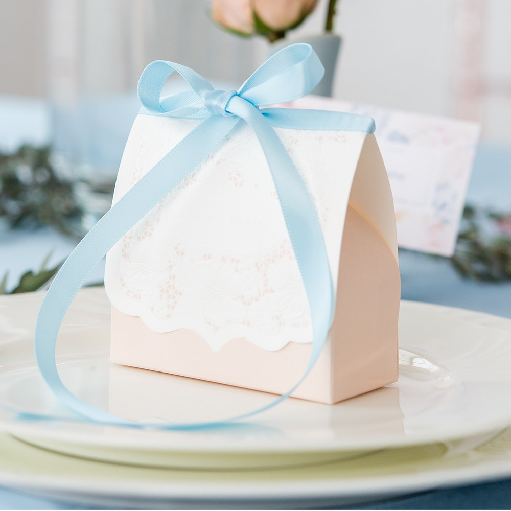 Blush Lace Favor Box (Set of 10)