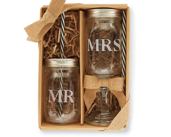 Mr. & Mrs. Mason Jar Set