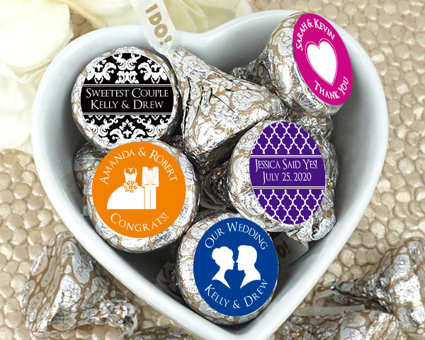 Personalized Hershey's Iconic Plume Kisses - Silhouette Collection | My Wedding Favors