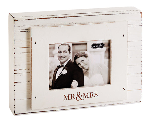 Mr. & Mrs. Distressed Wood 3x4 Photo Frame