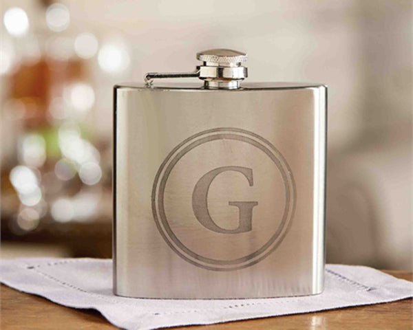 Silver Initial Flask with Gift Box