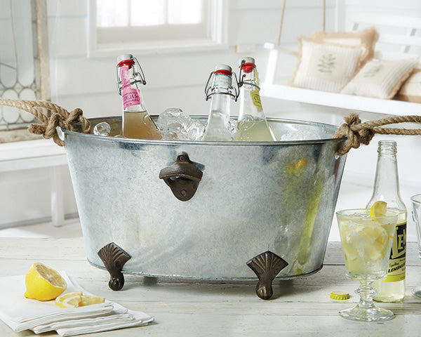 Footed Bottle Opener Beverage Tub