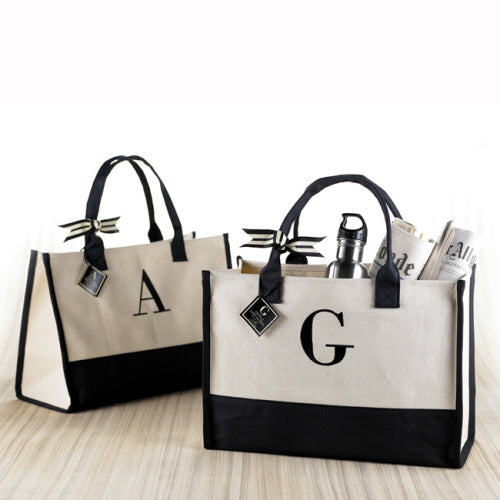 Cosmopolitan Home Canvas Initial Tote
