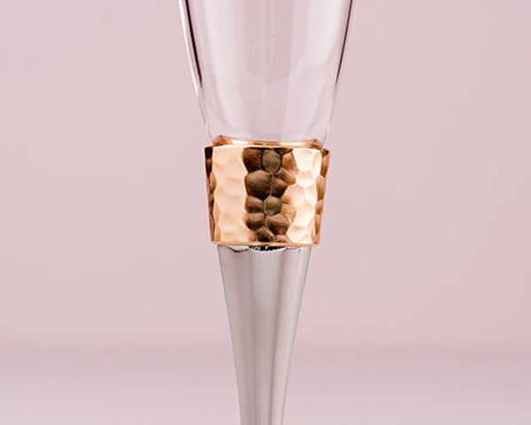 Hammered Gold & Polished Silver Toasting Flutes