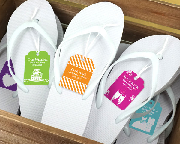 Wedding Flip Flops w/Personalized Tag (Black or White Available)