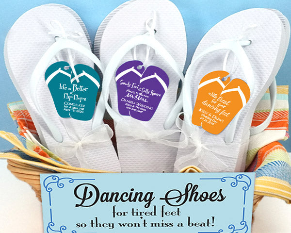 Wedding Flip Flops w/Personalized Flip Flop Tag (Black or White Available) | My Wedding Favors