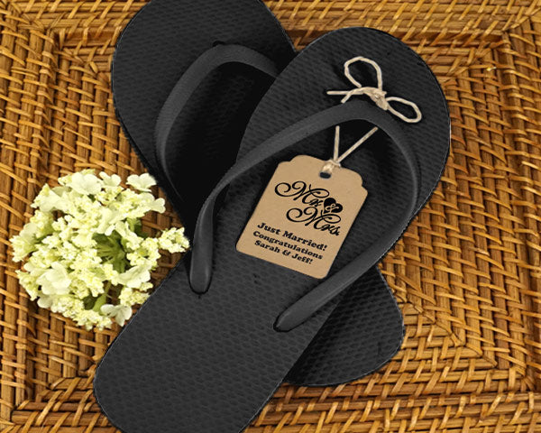 Wedding Flip Flops w/Personalized Kraft Tag (Black or White Available)