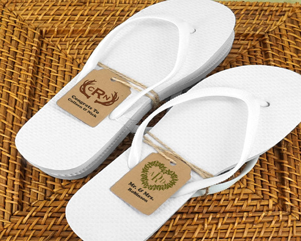 Wedding Flip Flops w/Monogram Kraft Tag (Black or White Available)