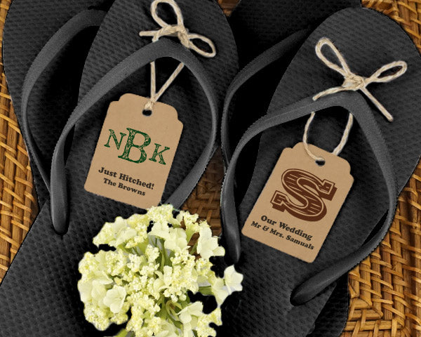 Wedding Flip Flops w/Monogram Kraft Tag (Black or White Available) | My Wedding Favors