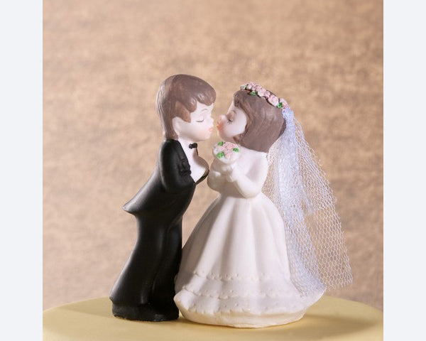 Porcelain Kissing Couple Cake Topper