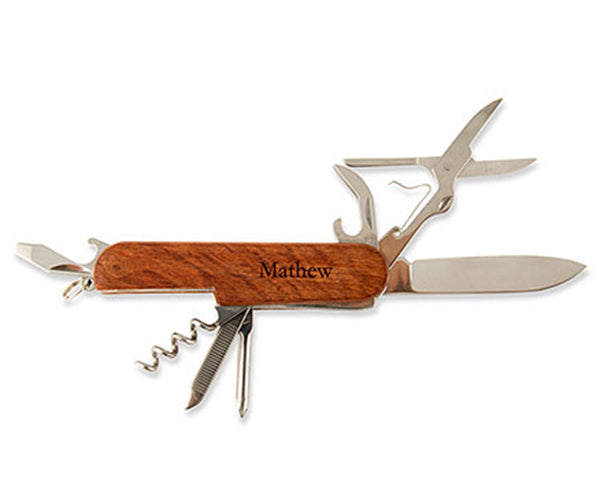 Personalized Rose Wood Handle Multi-Functional Knife