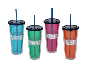 24 oz. Bling Plastic Tumbler with Lid and Straw