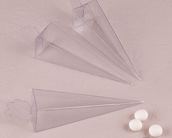 Transparent Clear Cone Favor Boxes (Set of 10)
