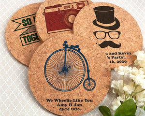 Personalized Round Cork Coasters|My Wedding Favors