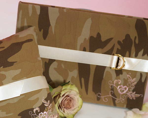 Military-Inspired Wedding Guest Book - Camouflage With Bow