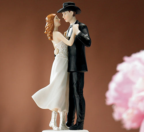 Sweet Embrace Hand Painted Western Cake Topper
