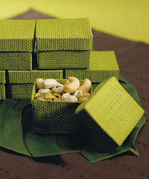 Organic Green Two-Piece Woven Favor Boxes