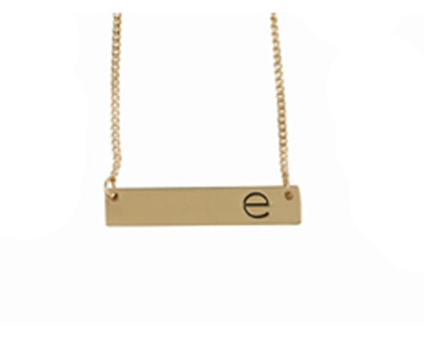 Gold Metal Initial Bar Necklace