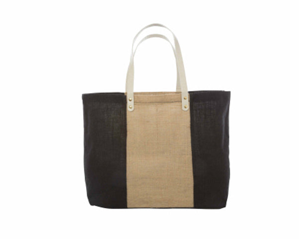 Black & Natural Color Block Jute Tote (Personalization Available)