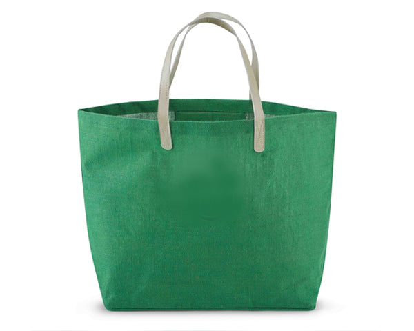 Green Jute Tote Bag - Personalization Available
