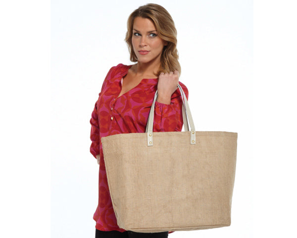 Solid Natural Jute Tote Bag (Personalization Available)