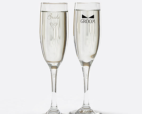 Bride & Groom Heart and Bow Tie Champagne Flutes