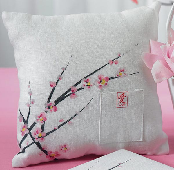 """Asian Artistry' Cherry Blossom Ring Bearer Pillow"