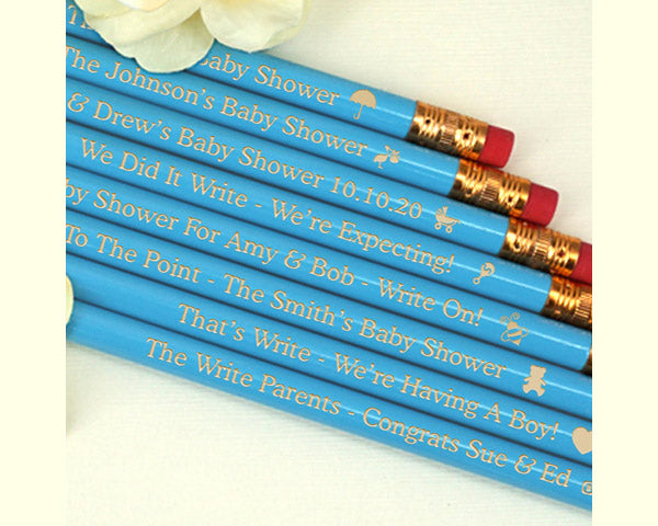 Baby Shower Pencils (Pink or Blue) - Set of 12