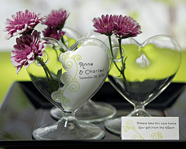 From The Heart Blown Glass Heart Vase (Set of 4)