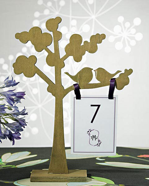 "Love Bird Silhouette"" Wooden Die-Cut Trees (Set of 2)"