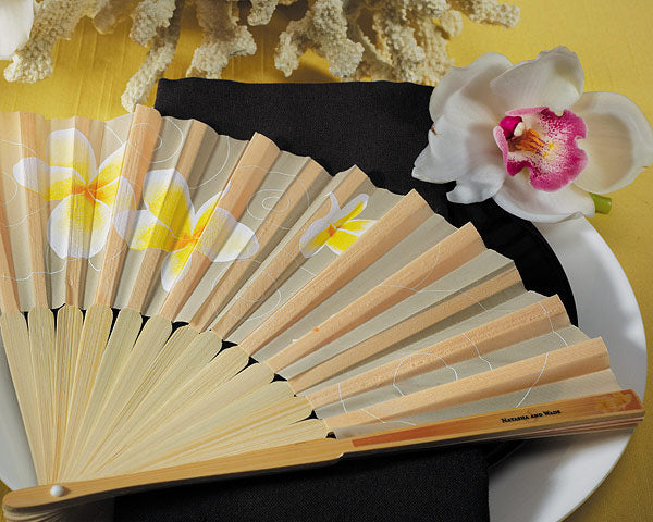 Tropical Fan with Romantic Plumeria Floral Details (Set of 6)